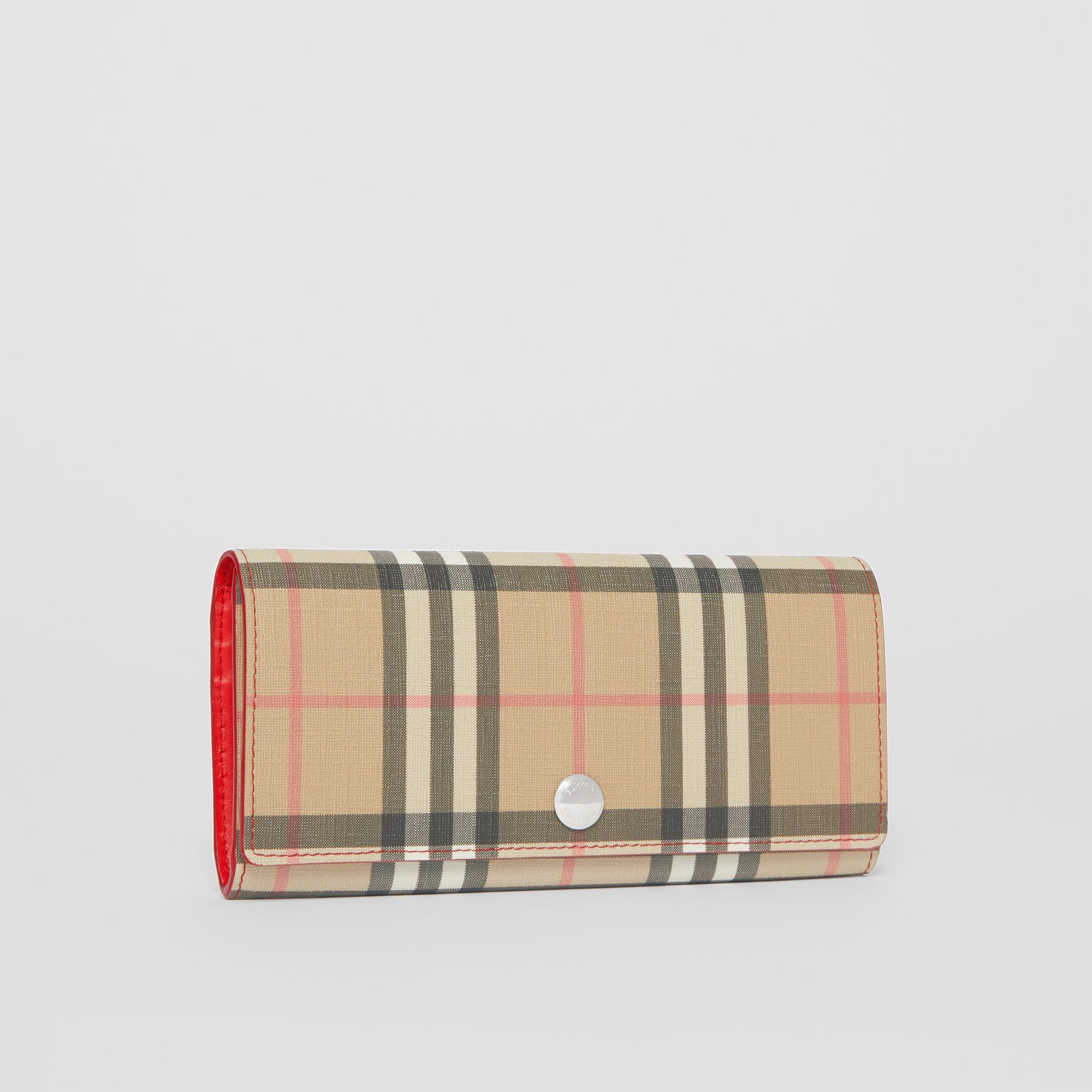 Vintage Check E-canvas and Leather Continental Wallet in Bright Military Red - Women | Burberry - gallery image 5