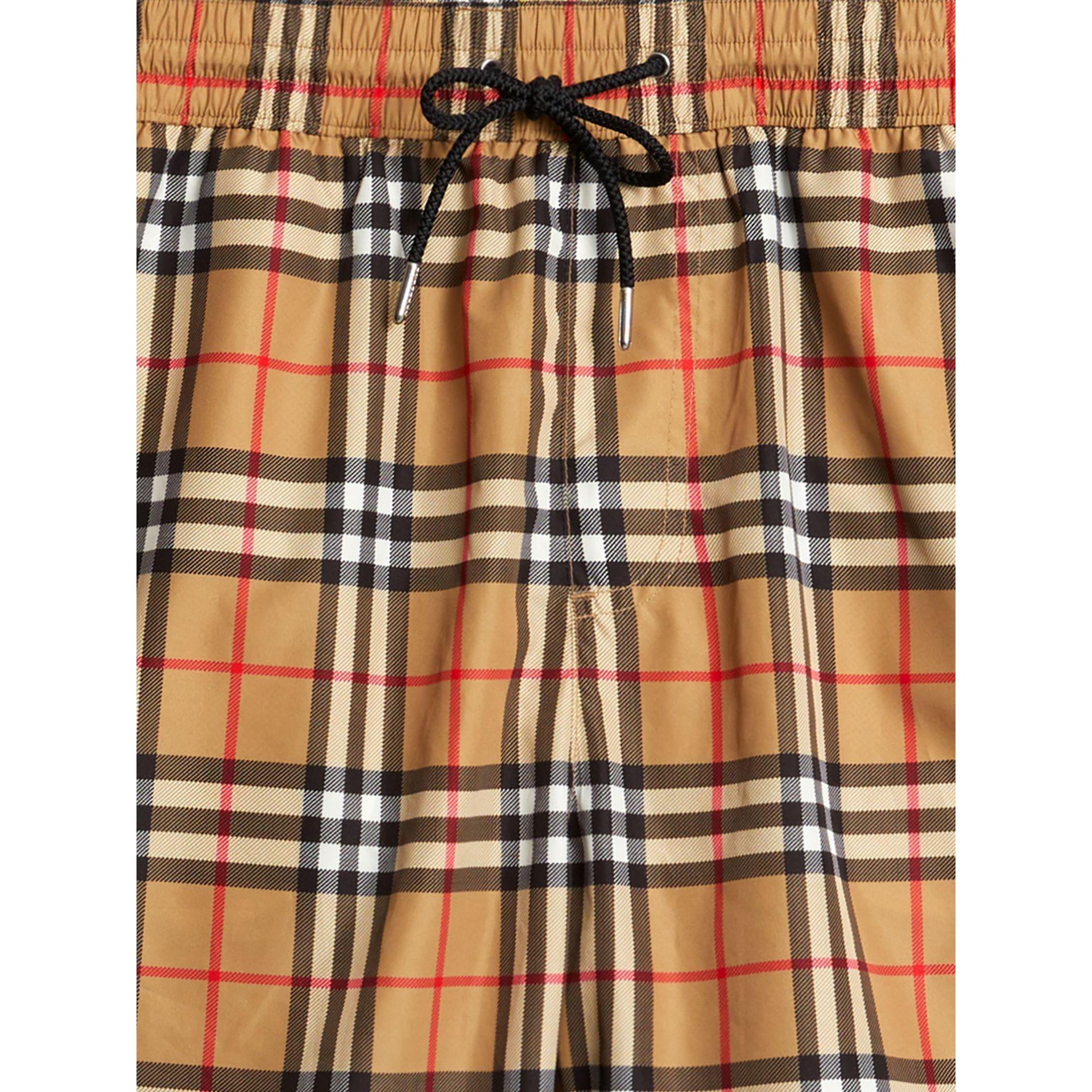 Vintage Check Drawcord Swim Shorts in Antique Yellow - Men | Burberry Australia - gallery image 1