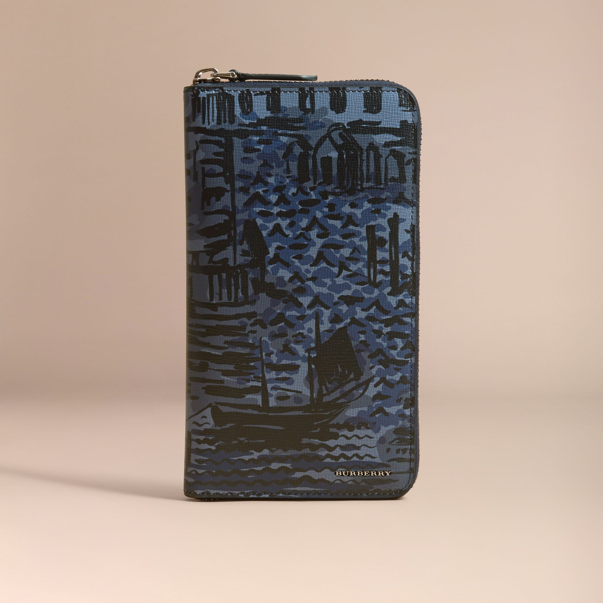 British Seaside Print London Leather Ziparound Wallet in Bright Navy - gallery image 7