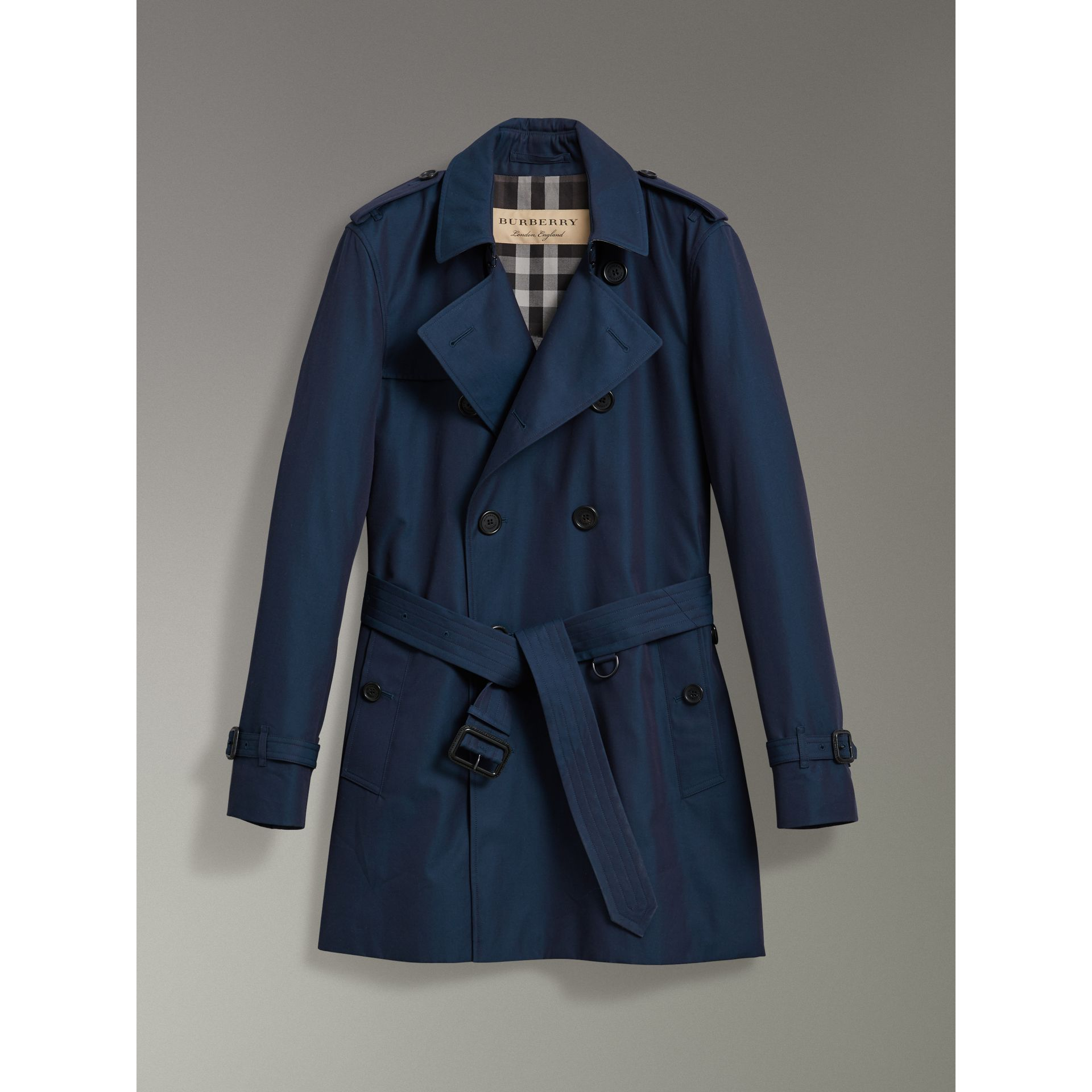 Cotton Gabardine Trench Coat in Teal Blue - Men | Burberry - gallery image 3