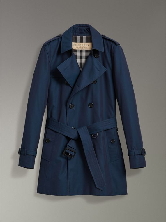 Cotton Gabardine Trench Coat in Teal Blue - Men | Burberry Singapore - cell image 3