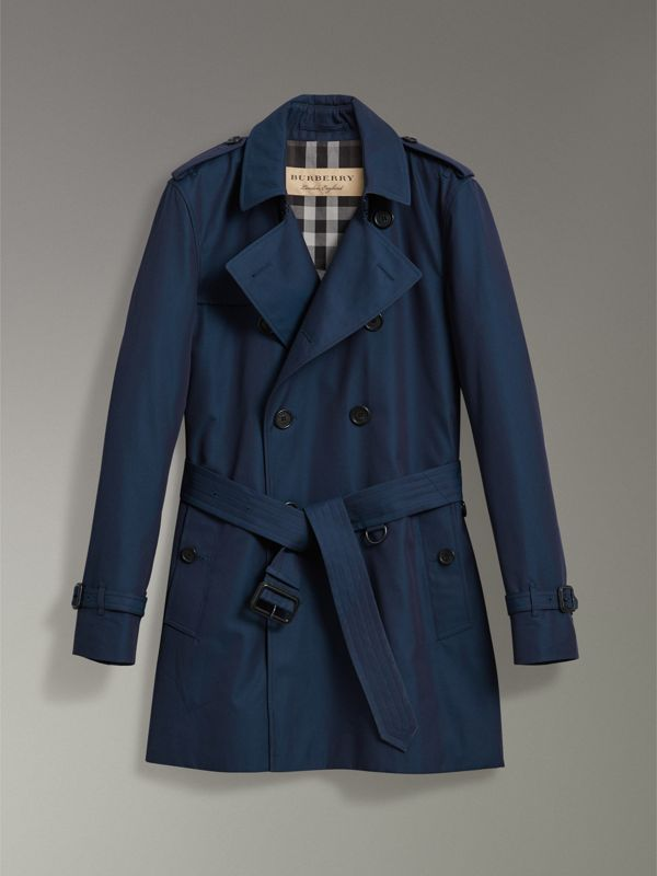 Cotton Gabardine Trench Coat in Teal Blue - Men | Burberry United Kingdom - cell image 3