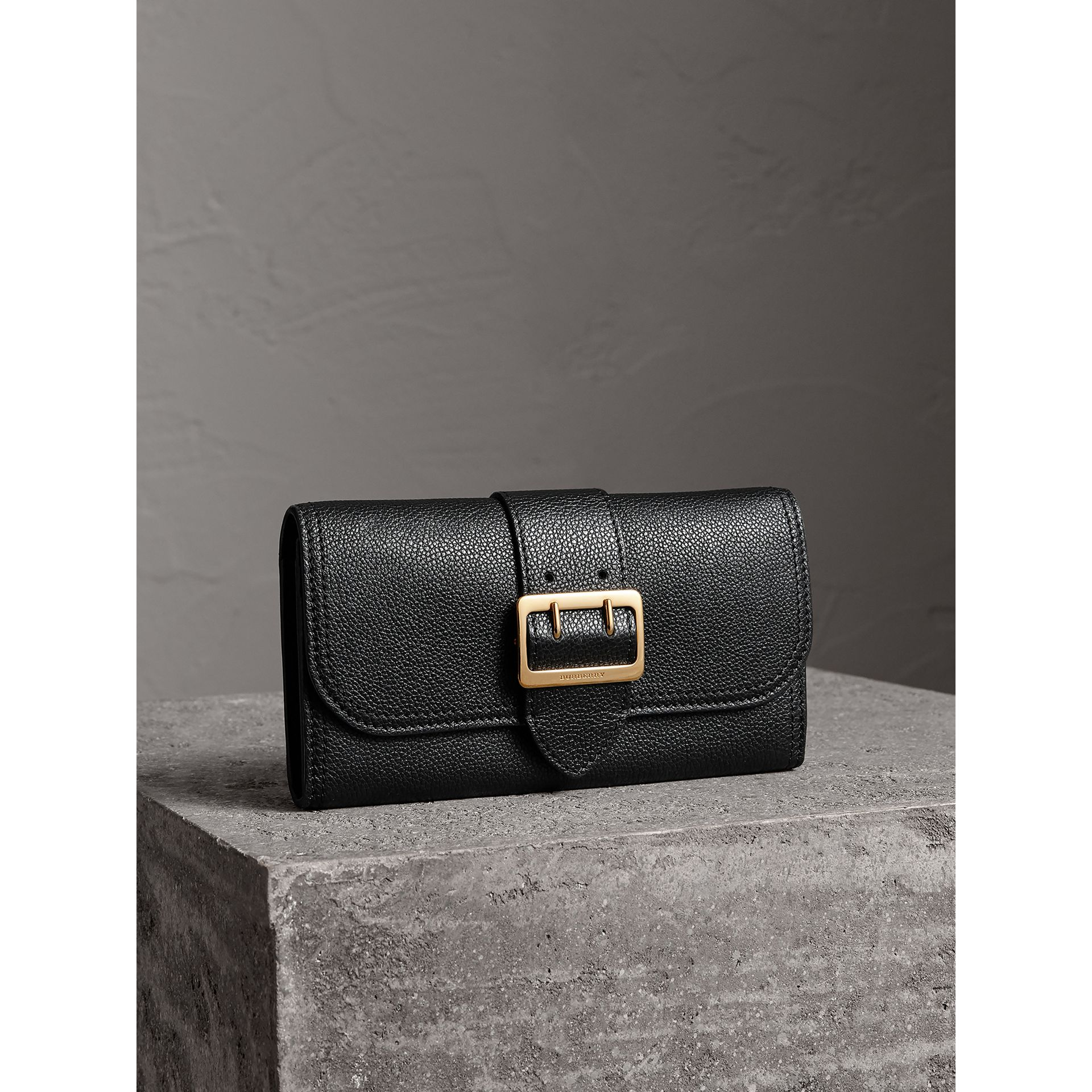 Textured Leather Continental Wallet in Black - Women | Burberry - gallery image 1