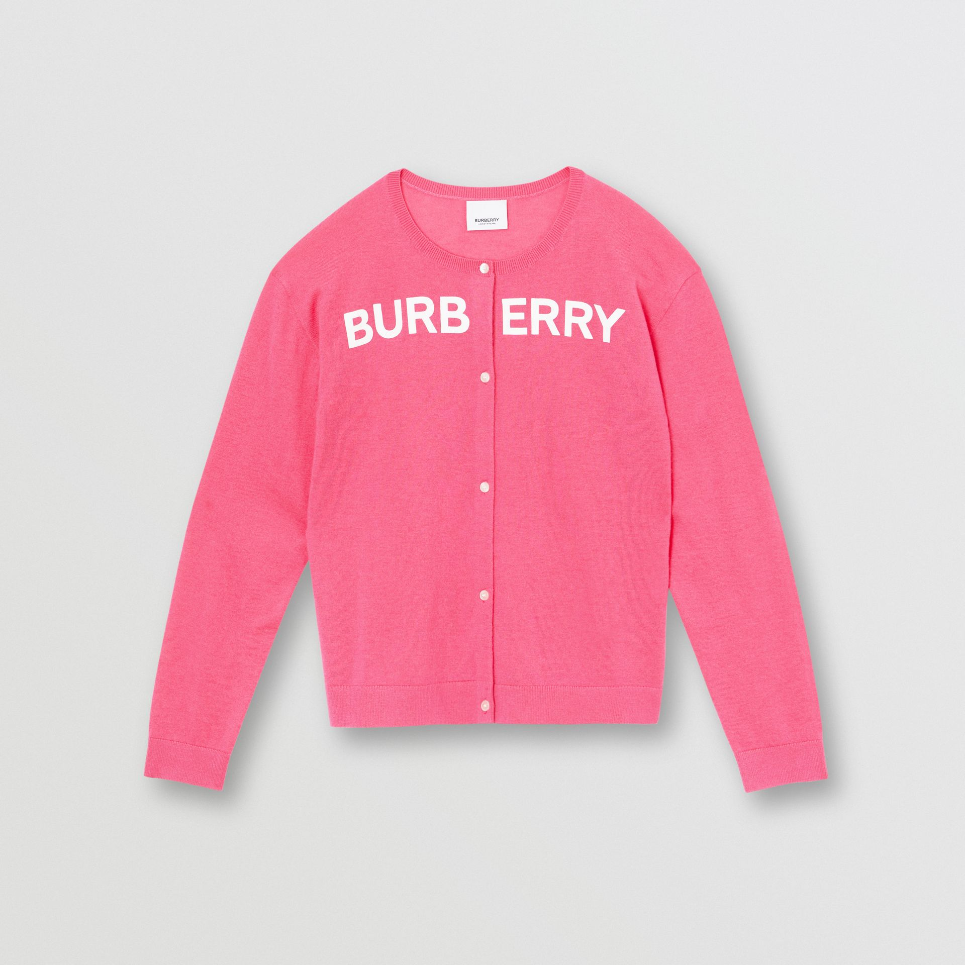 Logo Print Cashmere Two-piece Set in Fuchsia Pink | Burberry United Kingdom - gallery image 0