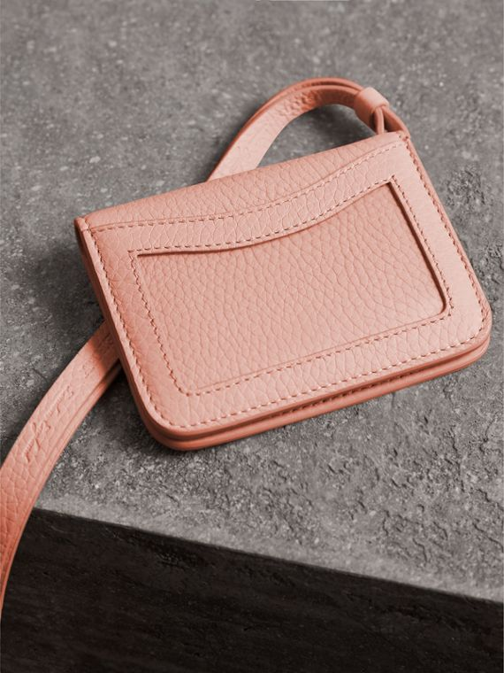 Embossed Leather ID Card Case Charm in Pale Ash Rose - Women | Burberry - cell image 2