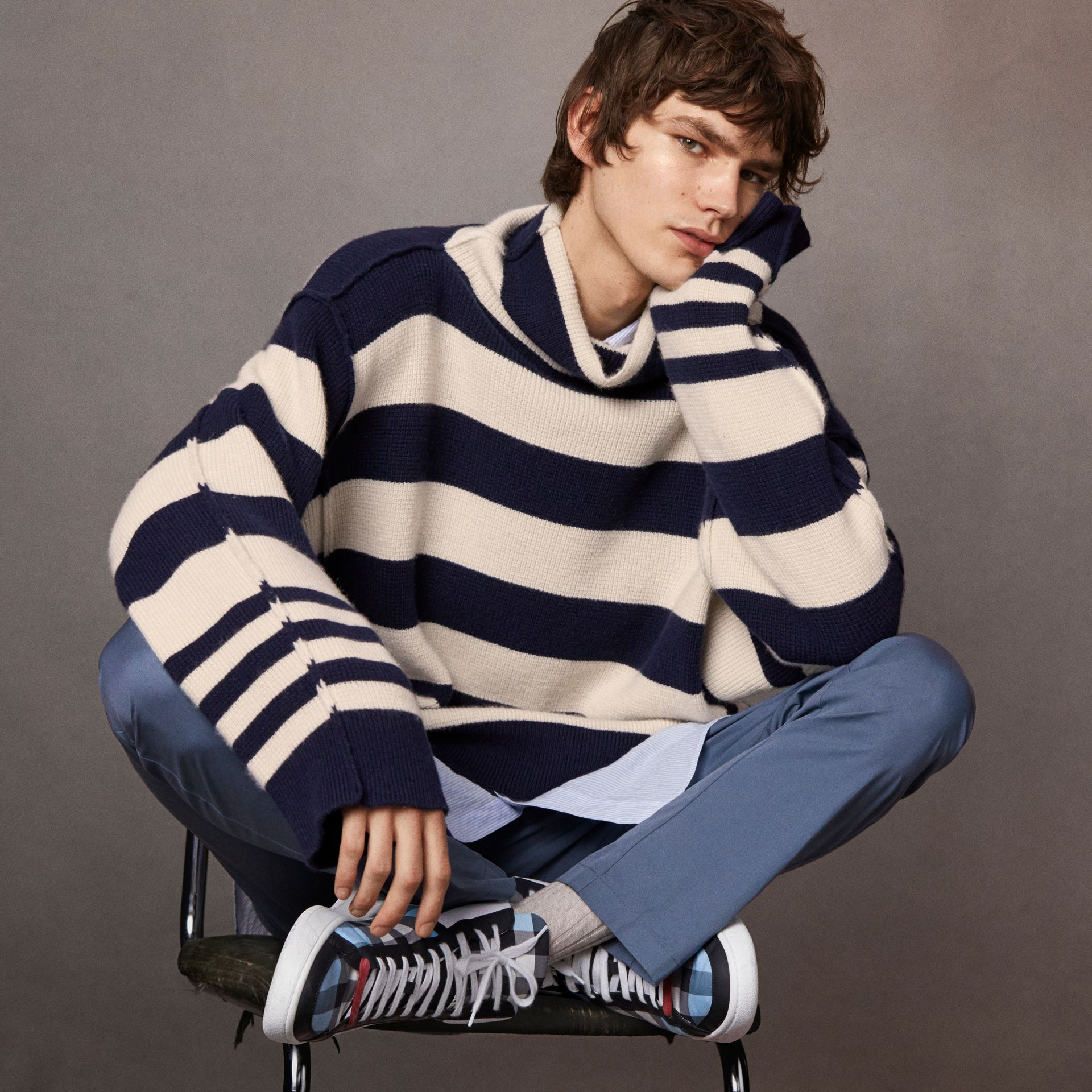 Striped Knitted Cashmere Roll-neck Sweater - Men | Burberry Australia - gallery image 6
