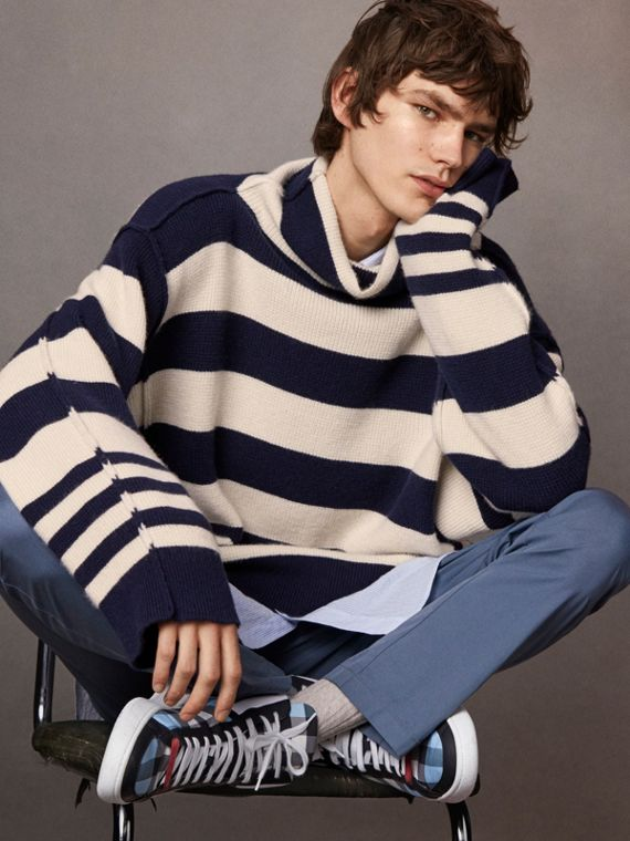 Striped Knitted Cashmere Roll-neck Sweater - Men | Burberry Singapore
