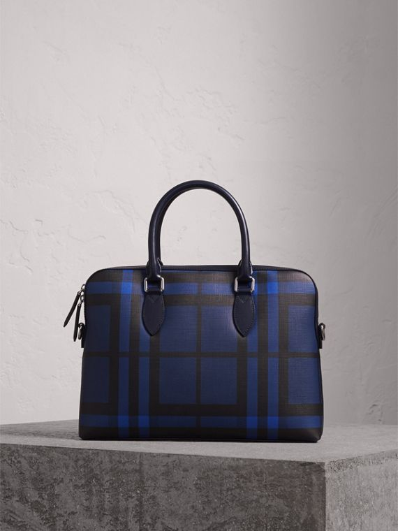 The Slim Barrow in London Check in Bright Lapis - Men | Burberry Canada