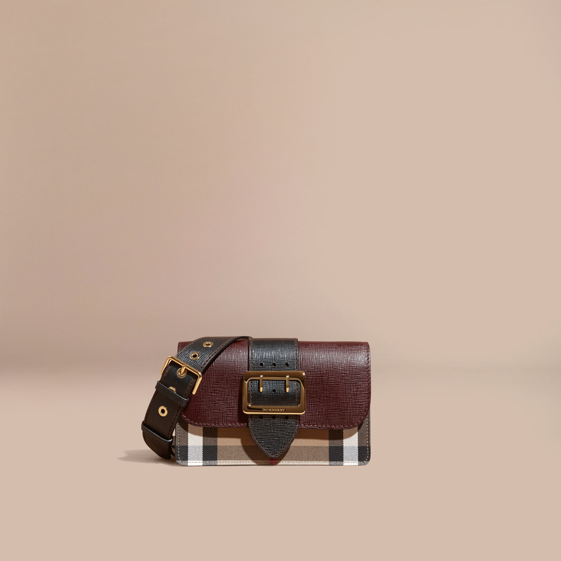 The Medium Buckle Bag in House Check and Textured Leather in Burgundy/black - gallery image 9