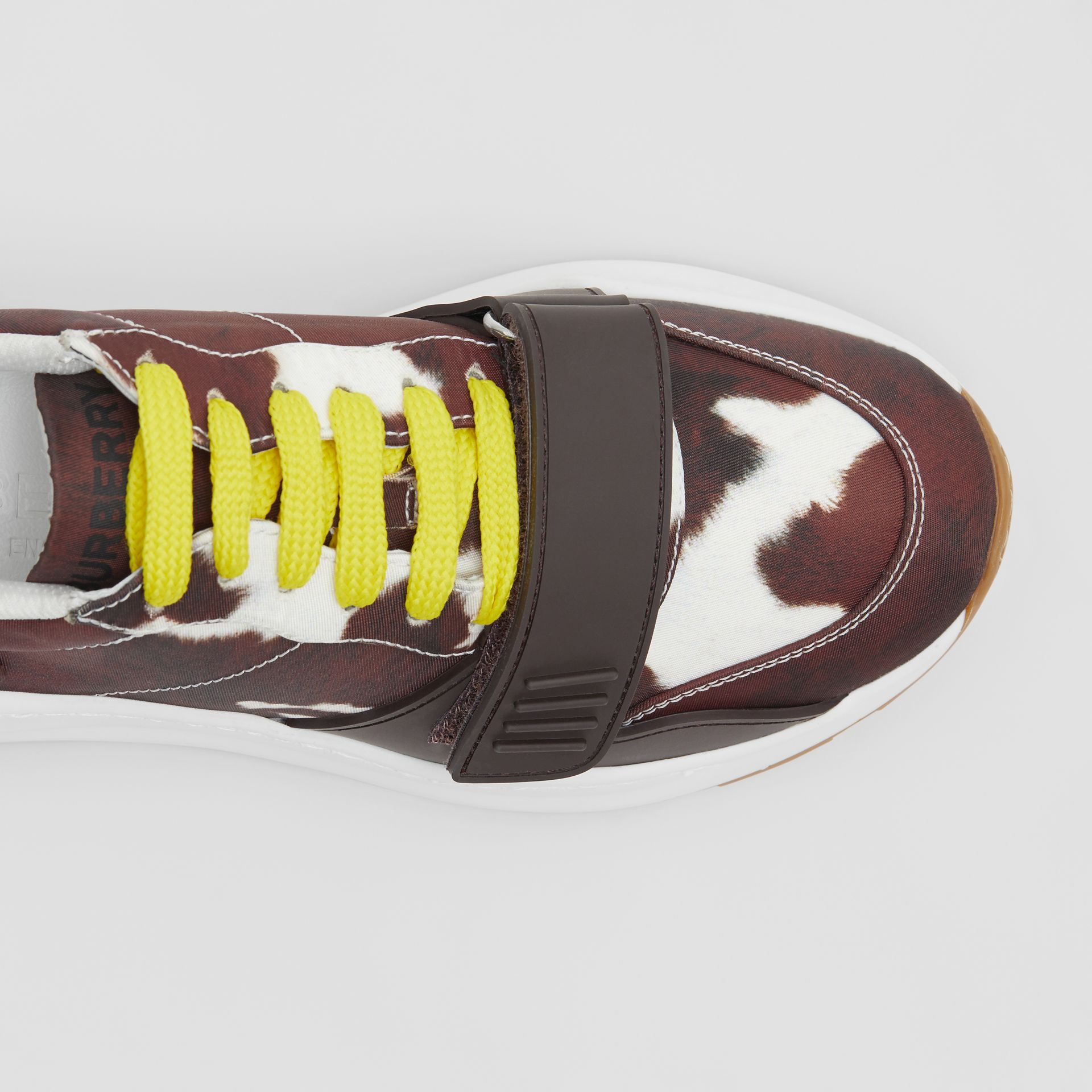 Cow Print Nylon Sneakers in Brown - Women | Burberry Hong Kong S.A.R - gallery image 1