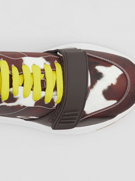 Cow Print Nylon Sneakers in Brown - Women | Burberry Hong Kong S.A.R - cell image 1