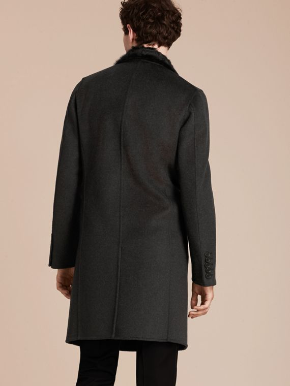 Dark charcoal melange Double Splittable Wool Top Coat with Fur Collar - cell image 2