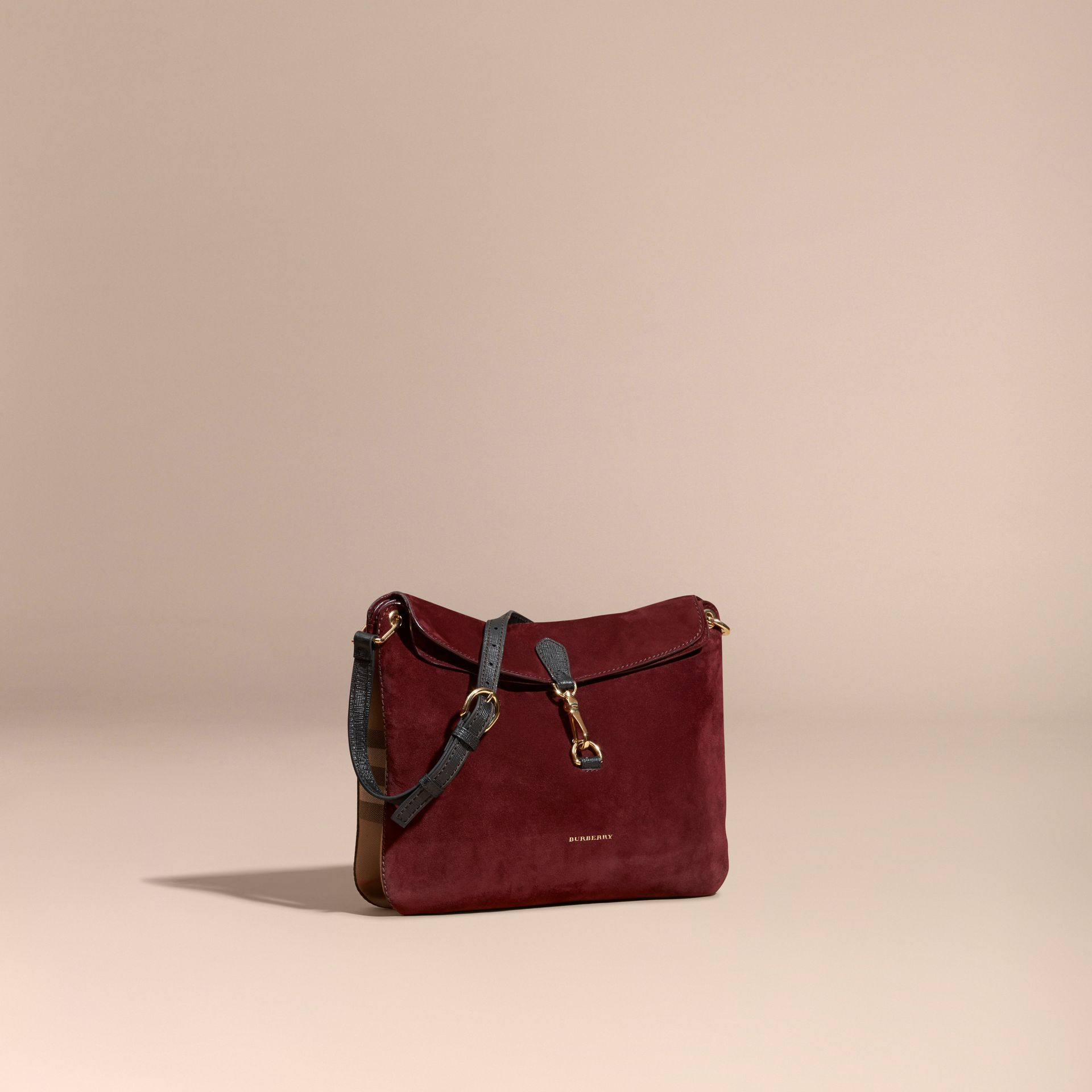 Mahogany red English Suede and House Check Shoulder Bag - gallery image 1