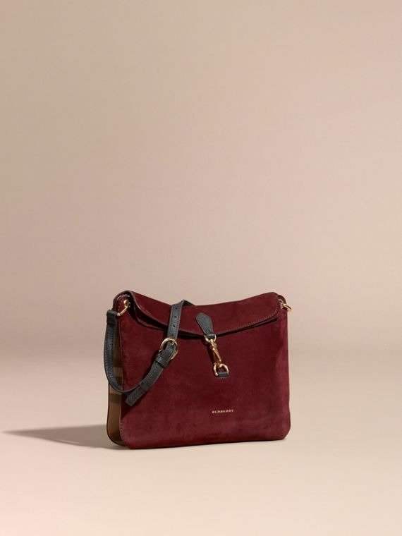 English Suede and House Check Shoulder Bag