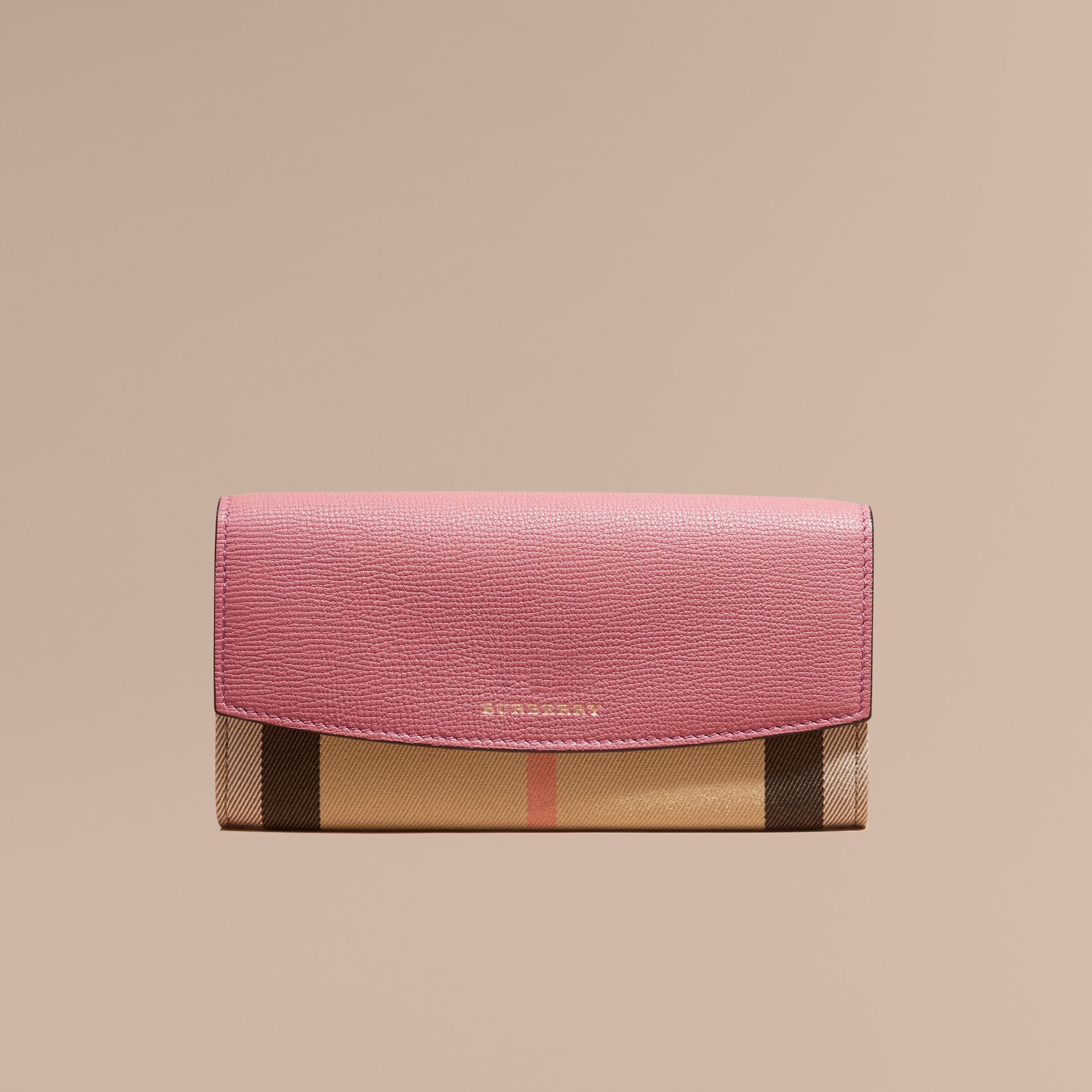 House Check and Leather Continental Wallet in Mauve Pink - gallery image 2