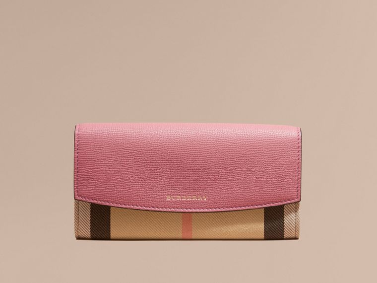 House Check and Leather Continental Wallet in Mauve Pink - cell image 1
