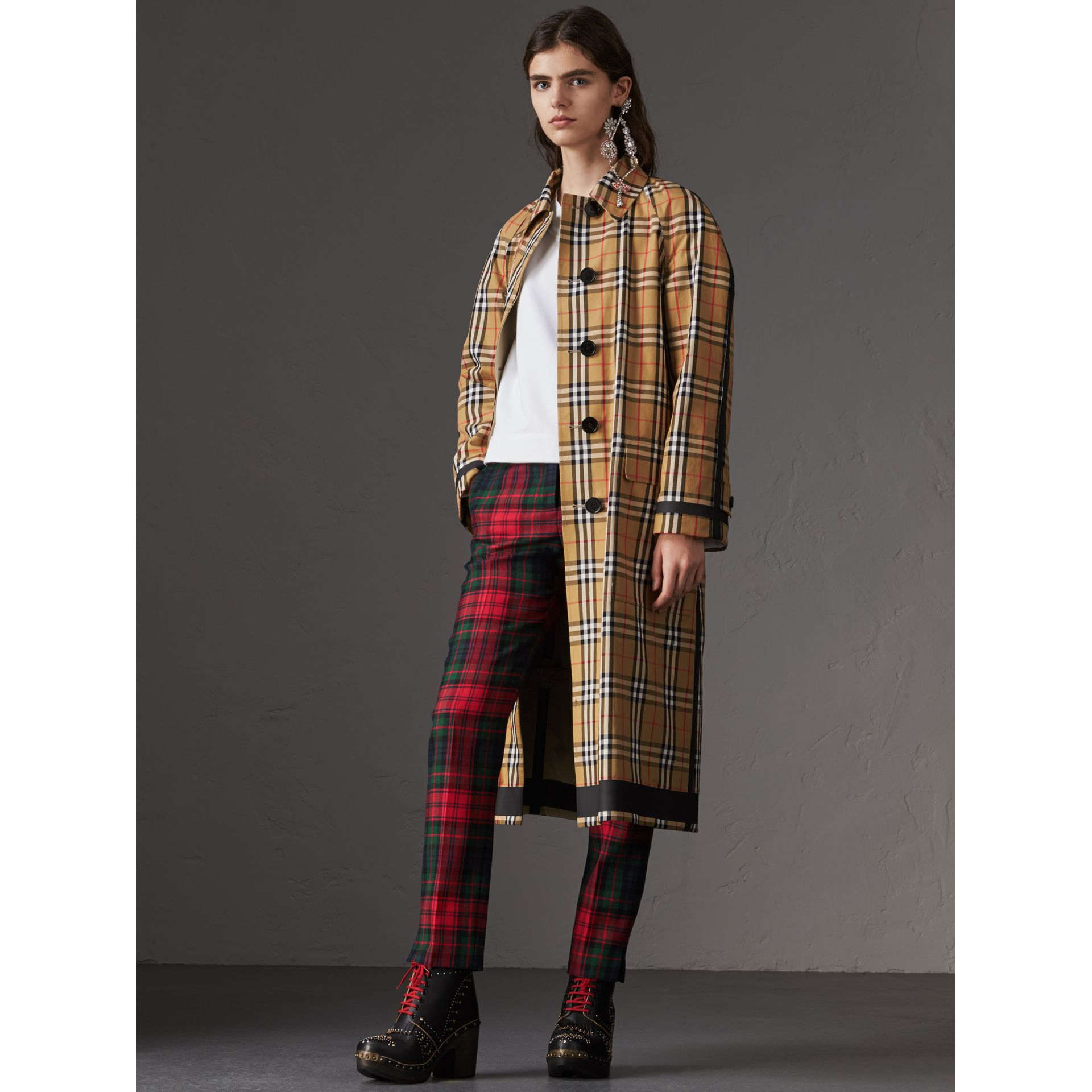 Reversible Vintage Check Gabardine Car Coat in Antique Yellow - Women | Burberry - gallery image 0