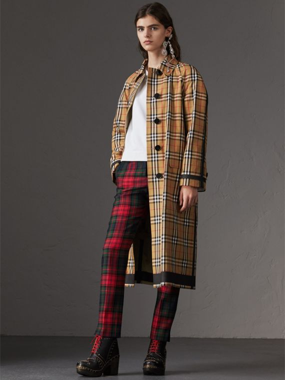 Reversible Vintage Check Gabardine Car Coat in Antique Yellow