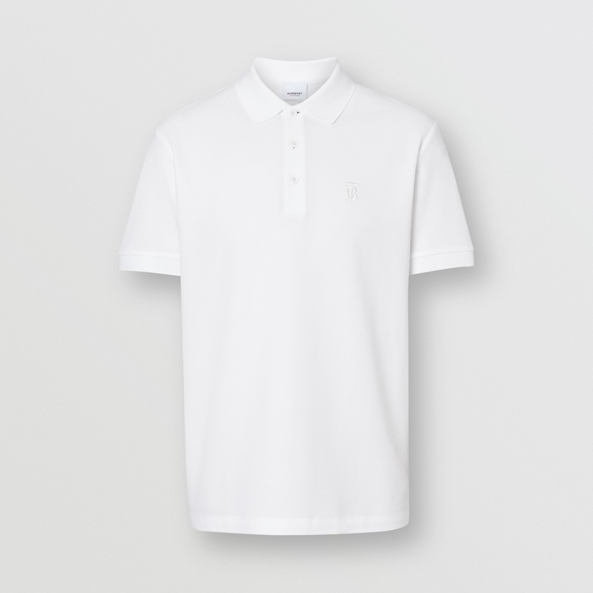 Monogram Motif Cotton Piqué Polo Shirt in White - Men | Burberry - gallery image 3