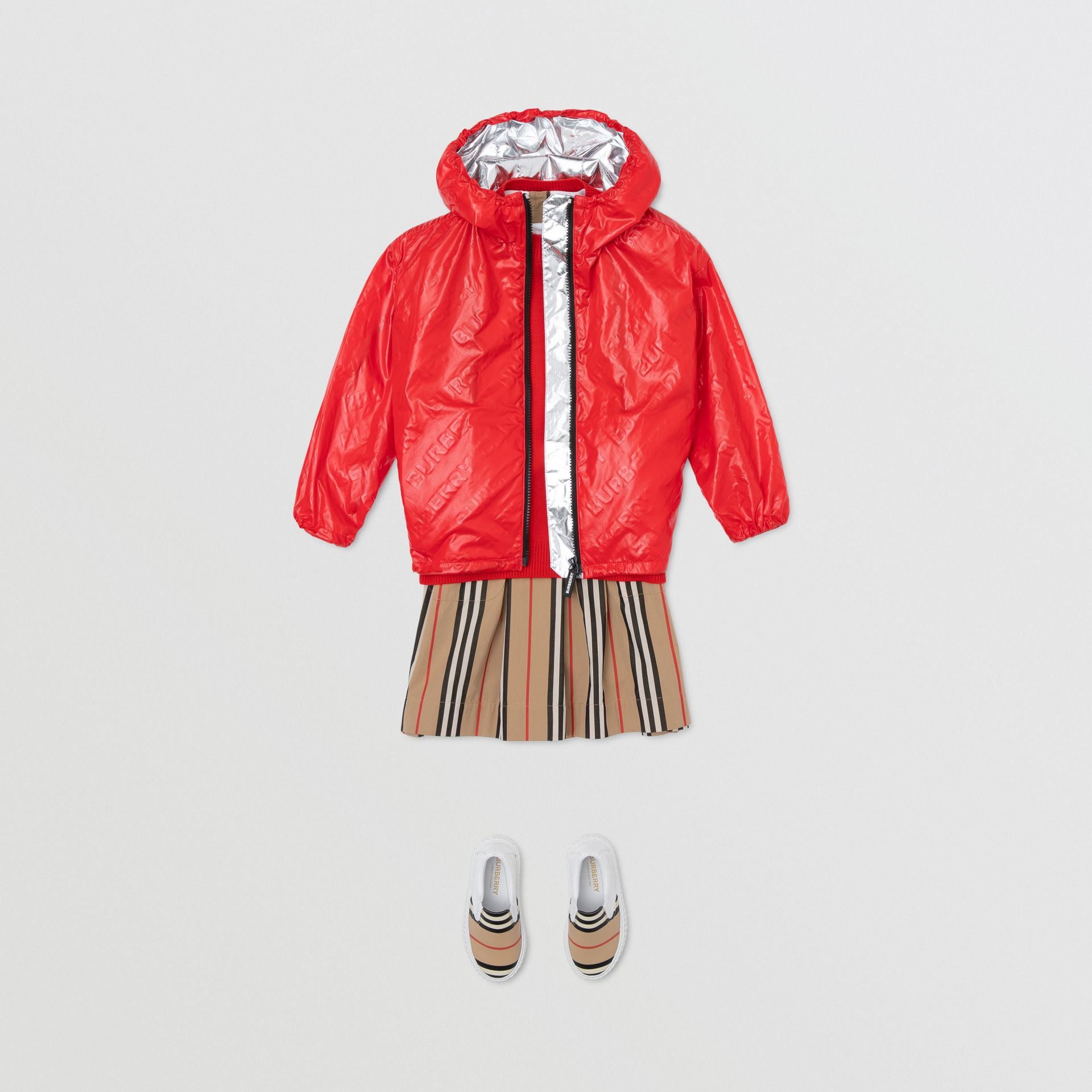 Logo Print Lightweight Hooded Jacket in Bright Red | Burberry United States - gallery image 3