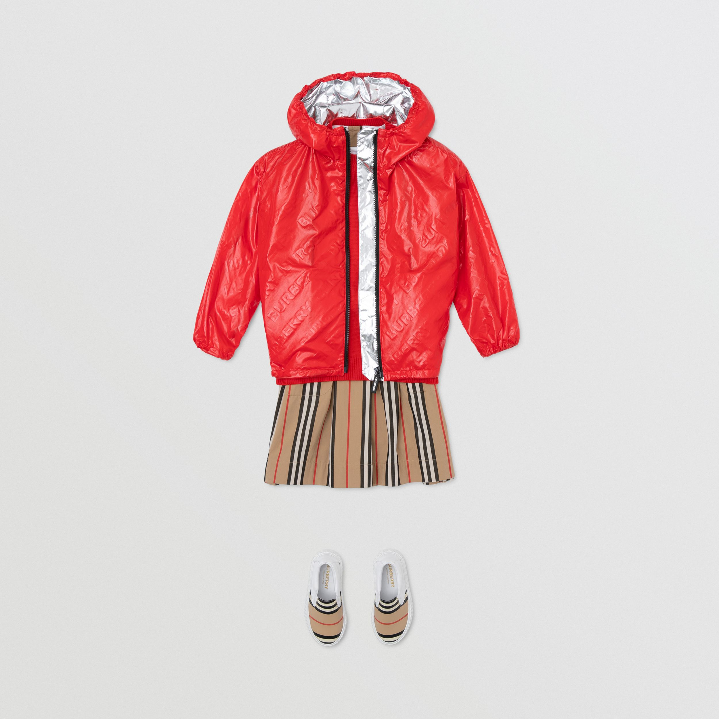 Logo Print Lightweight Hooded Jacket in Bright Red | Burberry - 4