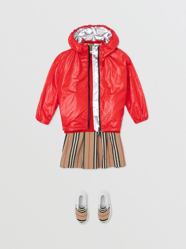 Logo Print Lightweight Hooded Jacket in Bright Red | Burberry United States - cell image 3