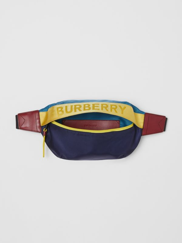 Medium Logo Detail Colour Block Bum Bag in Blue | Burberry - cell image 3