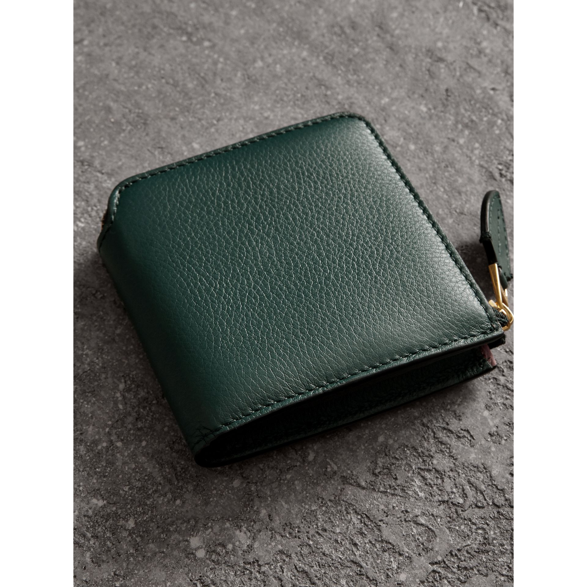 Grainy Leather Square Ziparound Wallet in Dark Cyan - Women | Burberry United Kingdom - gallery image 2