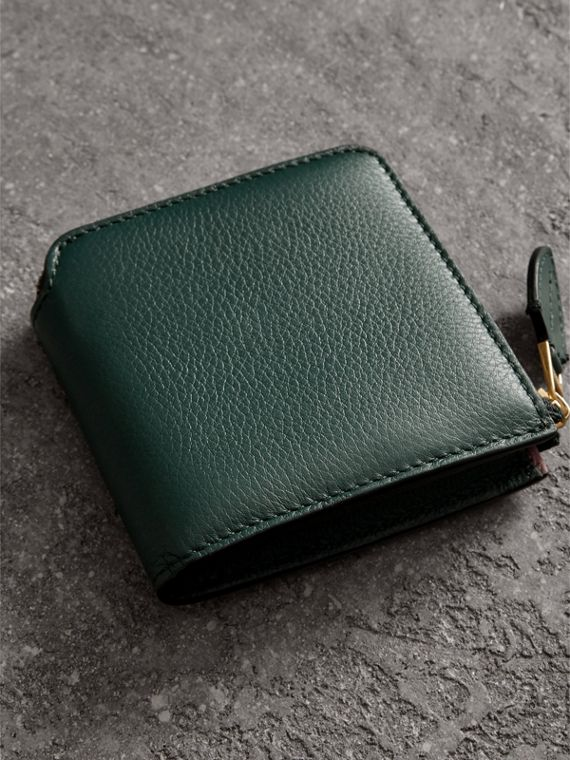 Grainy Leather Square Ziparound Wallet in Dark Cyan - Women | Burberry - cell image 2