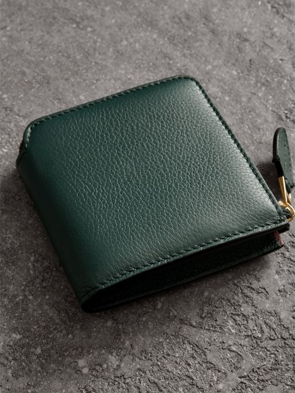 Grainy Leather Square Ziparound Wallet in Dark Cyan - Women | Burberry Singapore - cell image 2