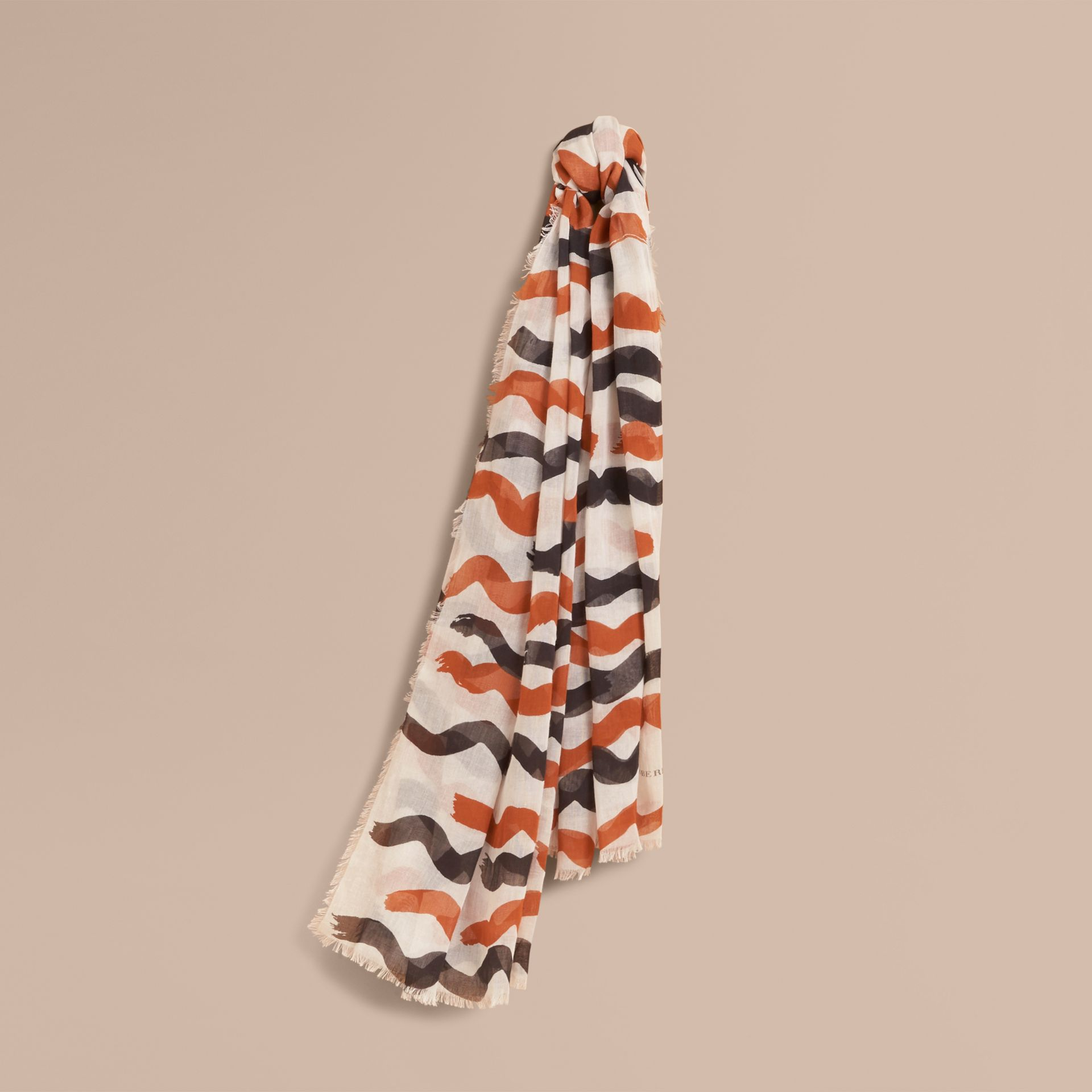 Waves Print Cotton Cashmere Scarf in Burnt Orange - gallery image 1