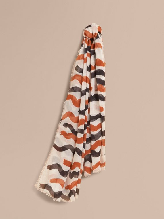Waves Print Cotton Cashmere Scarf Burnt Orange