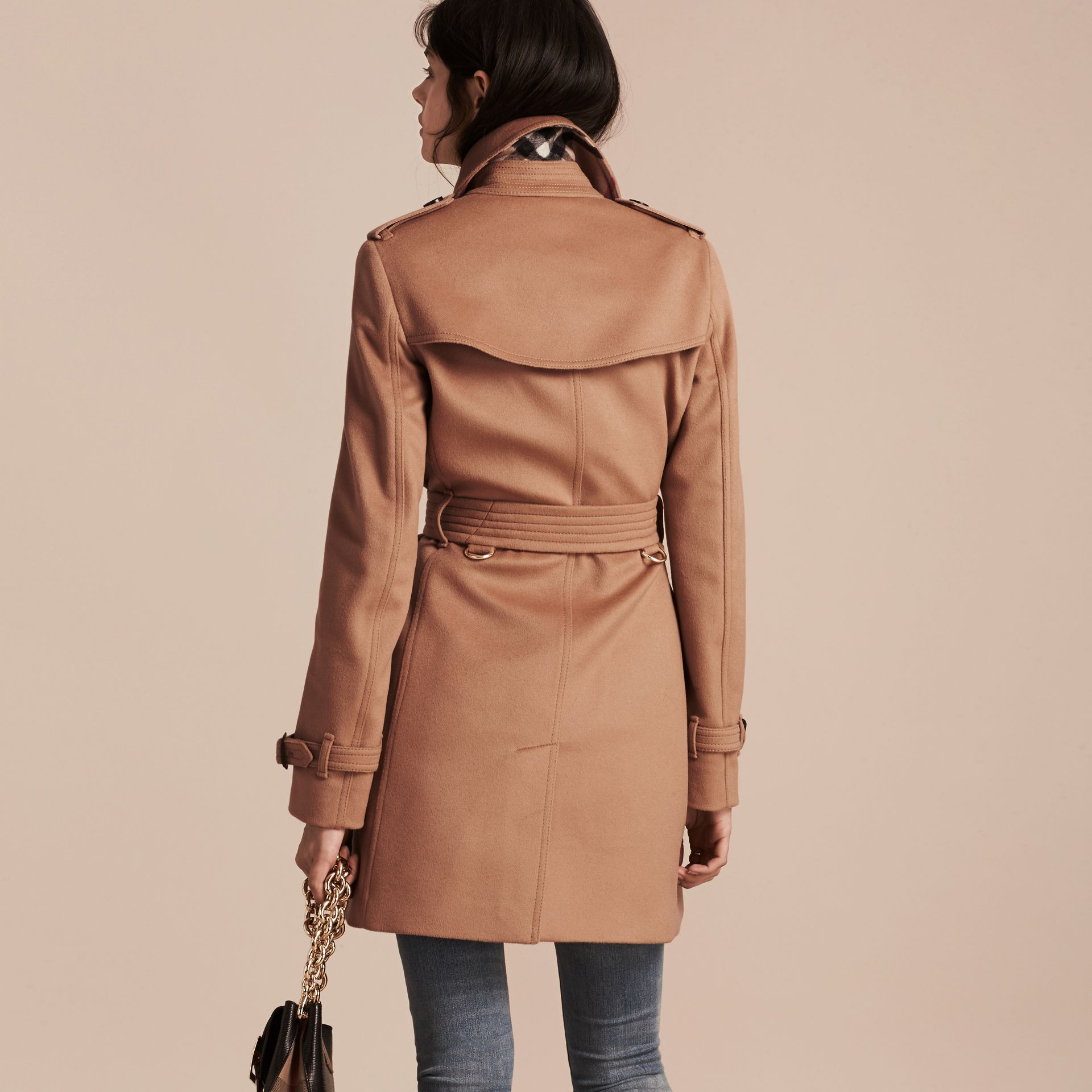 Wool Cashmere Trench Coat Camel - gallery image 3