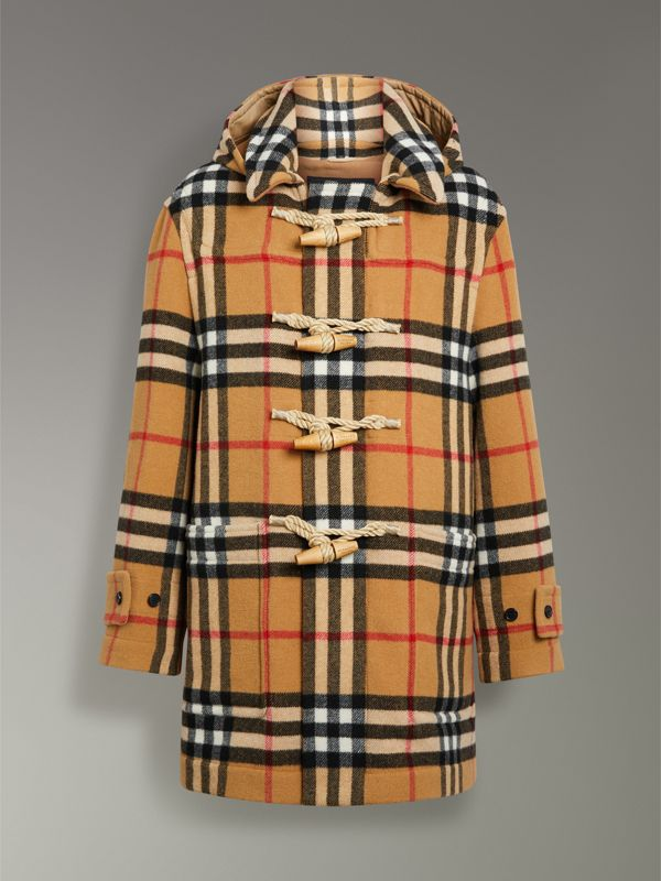 Gosha x Burberry Check Oversized Duffle Coat in Antique Yellow | Burberry - cell image 3