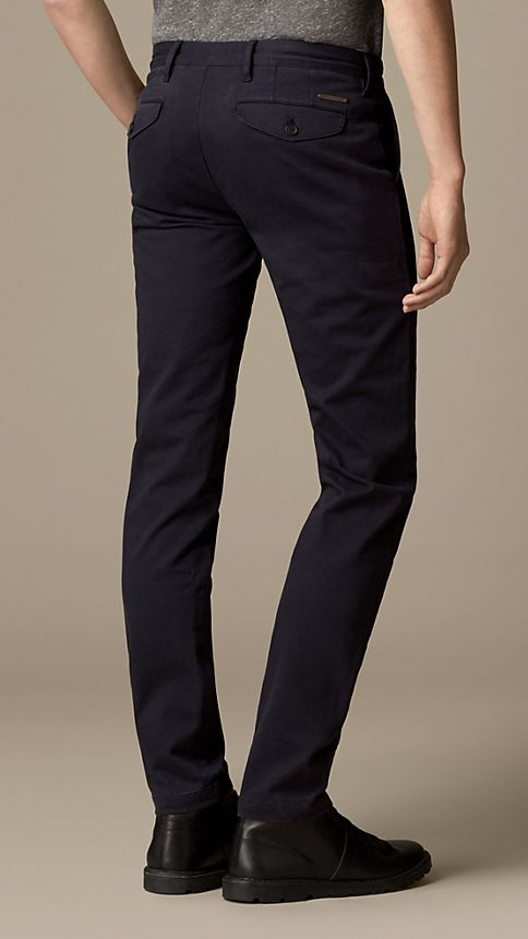 Navy Slim Fit Stretch-Cotton Twill Chinos - Image 2