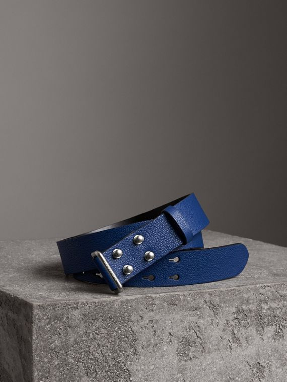 Push-Stud Grainy Leather Belt in Bright Ultramarine