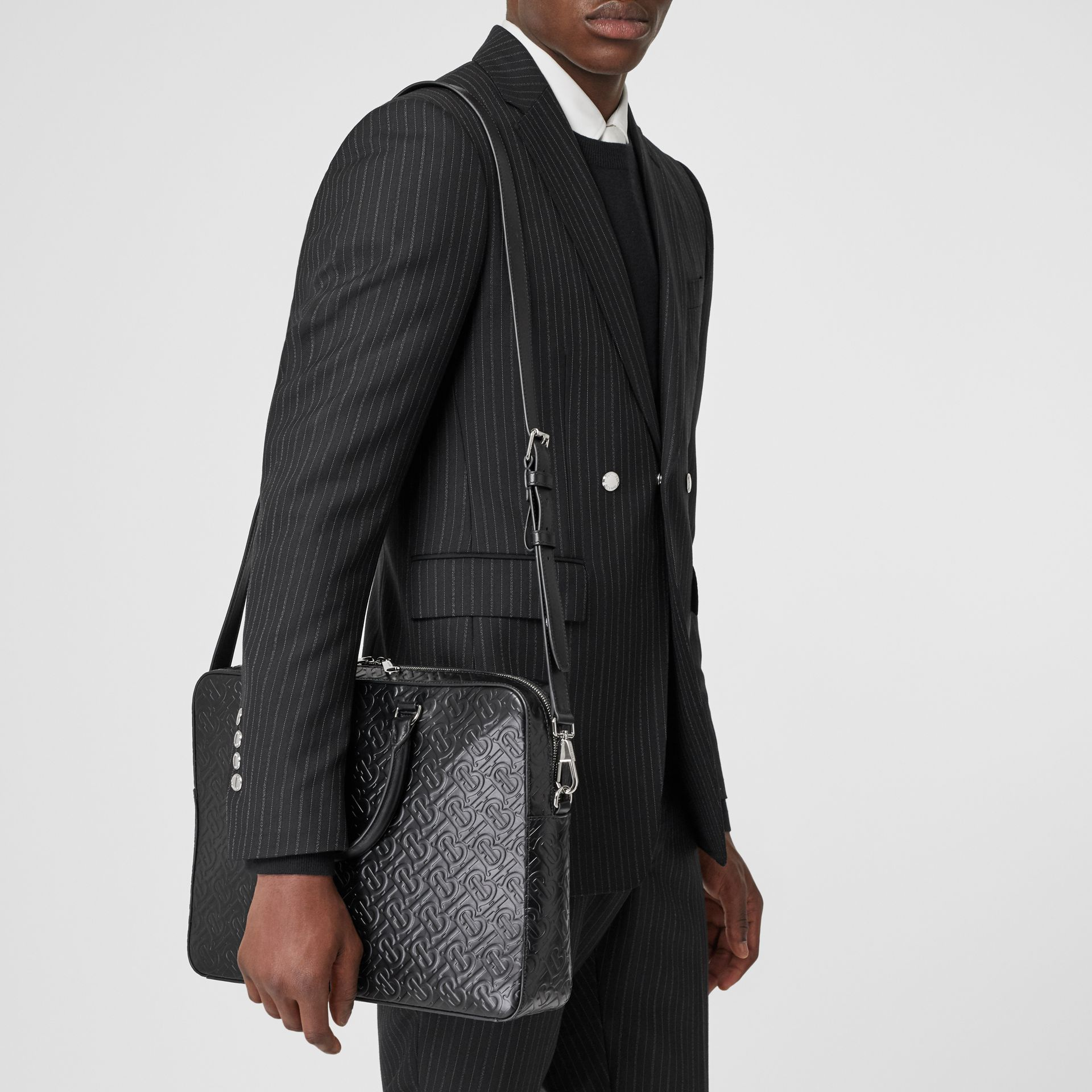 Monogram Leather Briefcase in Black - Men | Burberry - gallery image 2