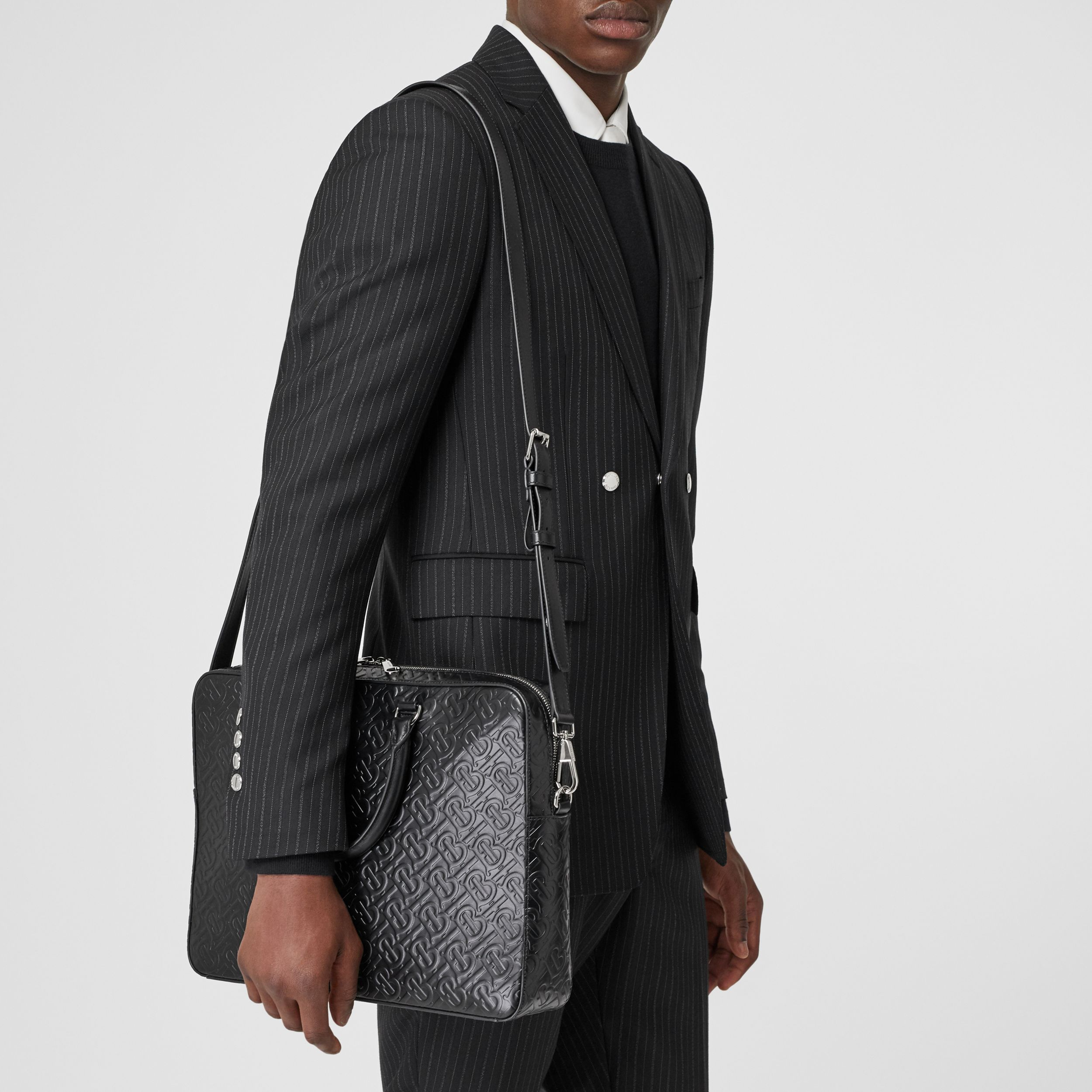 Monogram Leather Briefcase in Black - Men | Burberry - 3
