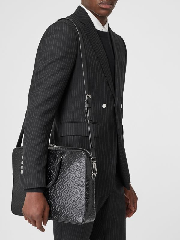 Monogram Leather Briefcase in Black - Men | Burberry Singapore - cell image 2