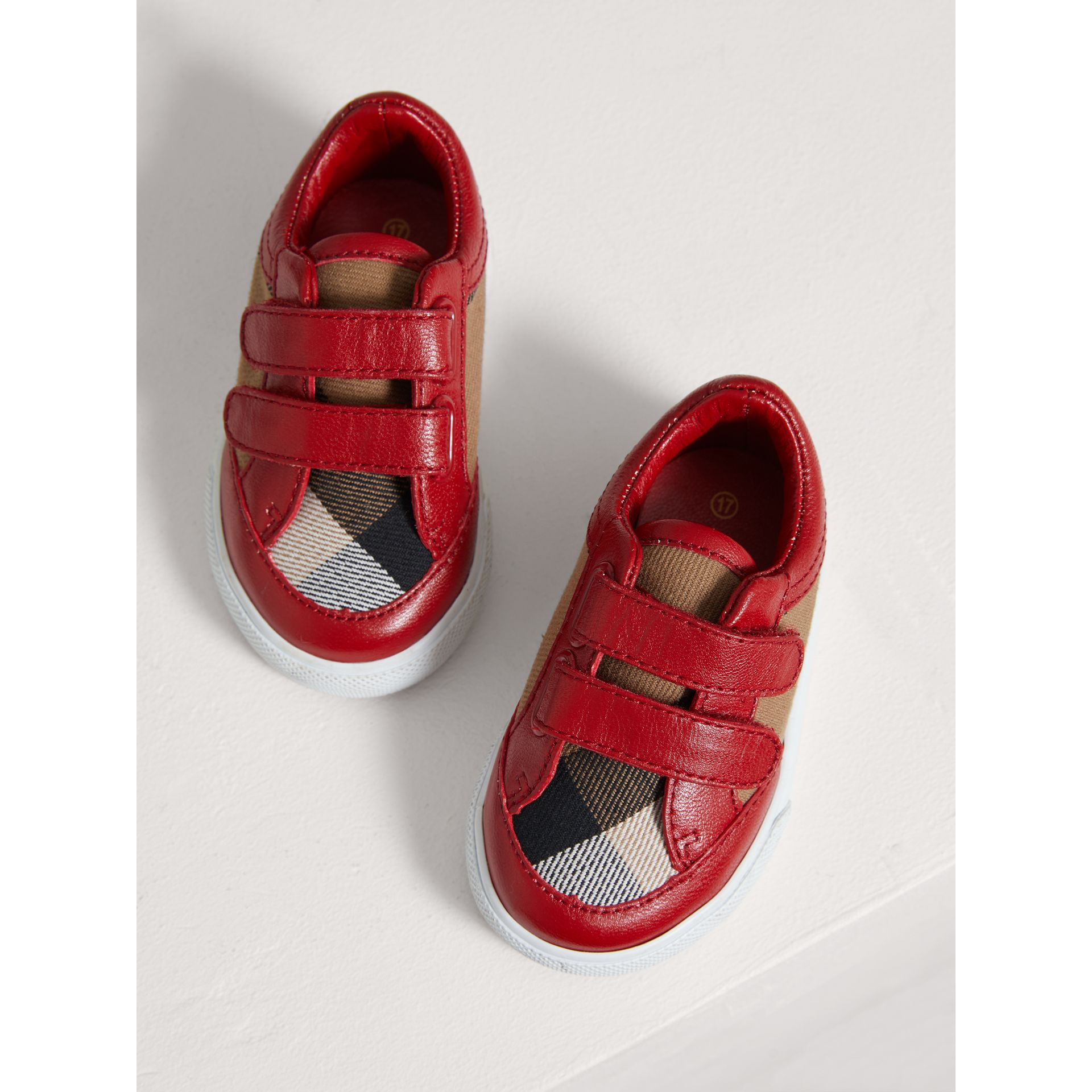 House Check and Leather Trainers in Parade Red | Burberry United Kingdom - gallery image 3