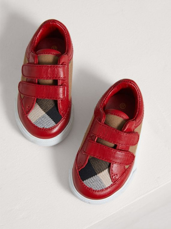 House Check and Leather Trainers in Parade Red | Burberry United Kingdom - cell image 3