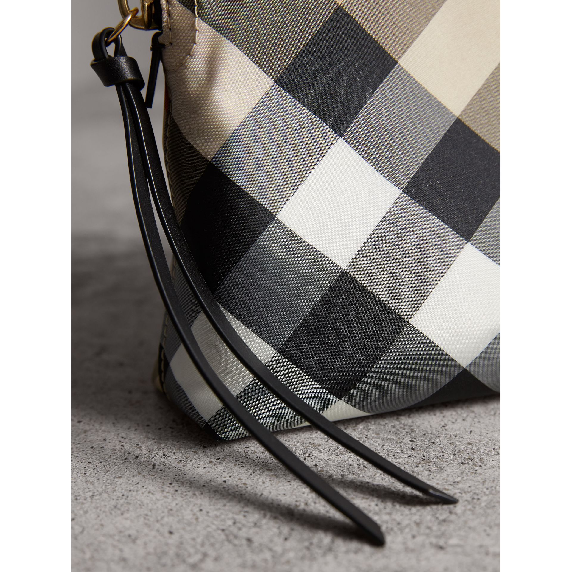Large Zip-top Check Pouch in Camel - Women | Burberry - gallery image 2
