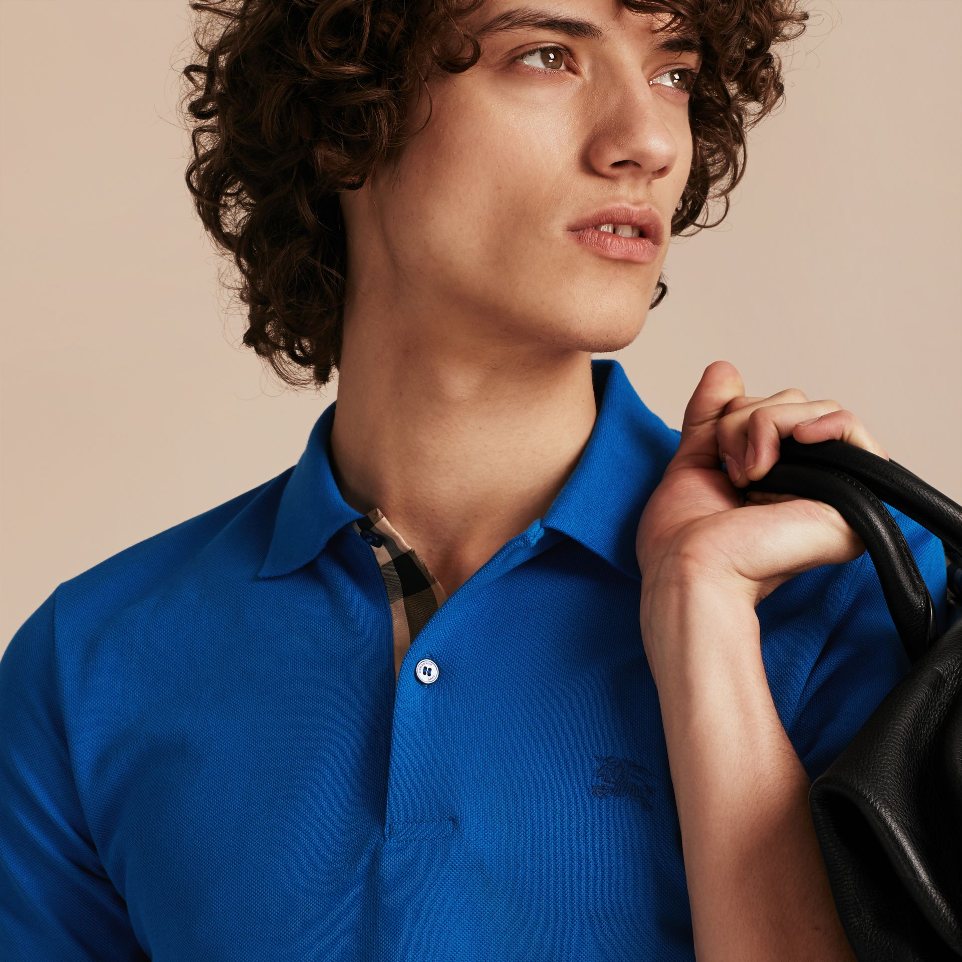 Check Placket Cotton Piqué Polo Shirt in Bright Opal - Men | Burberry - gallery image 5