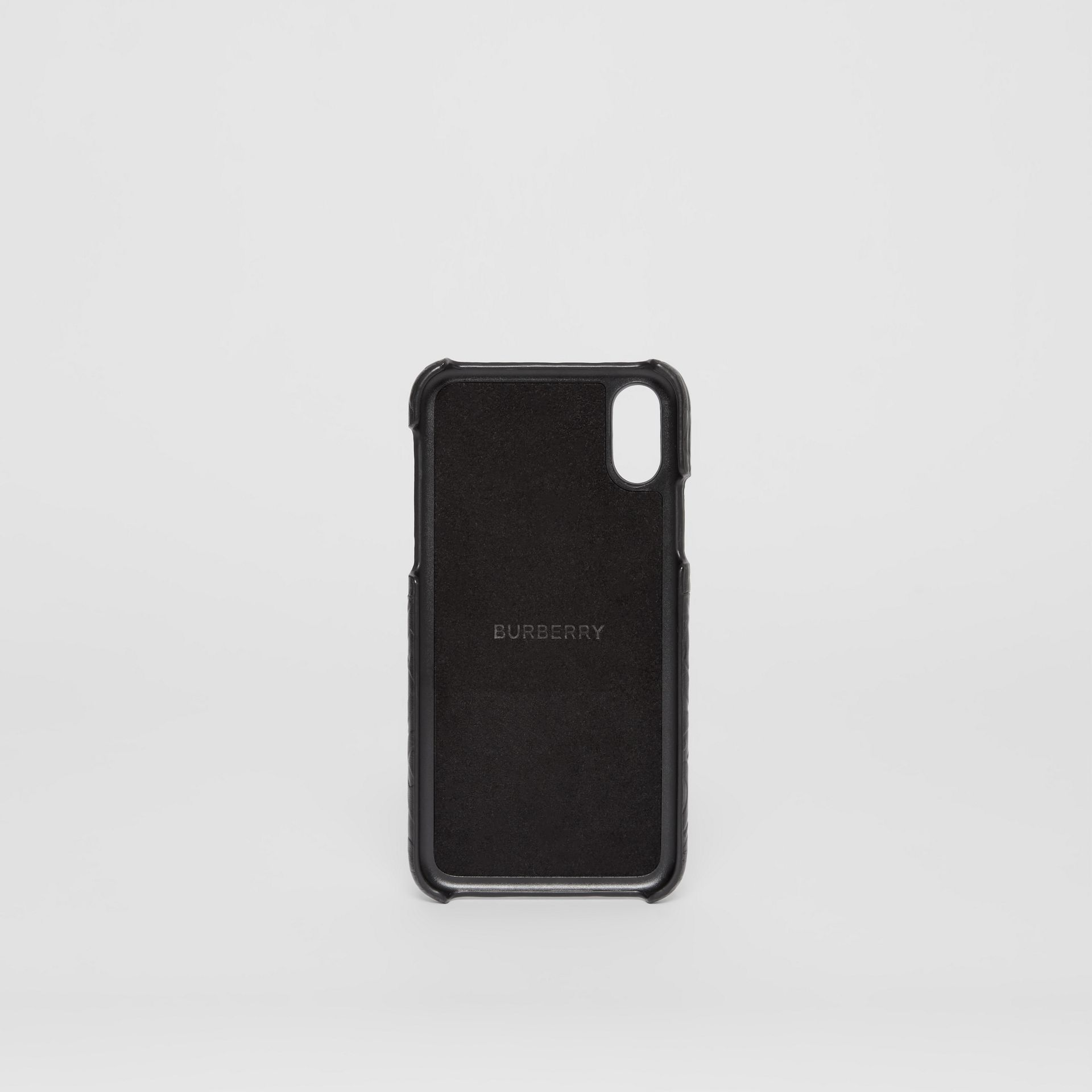 Monogram Leather iPhone X/XS Case in Black - Men | Burberry - gallery image 3