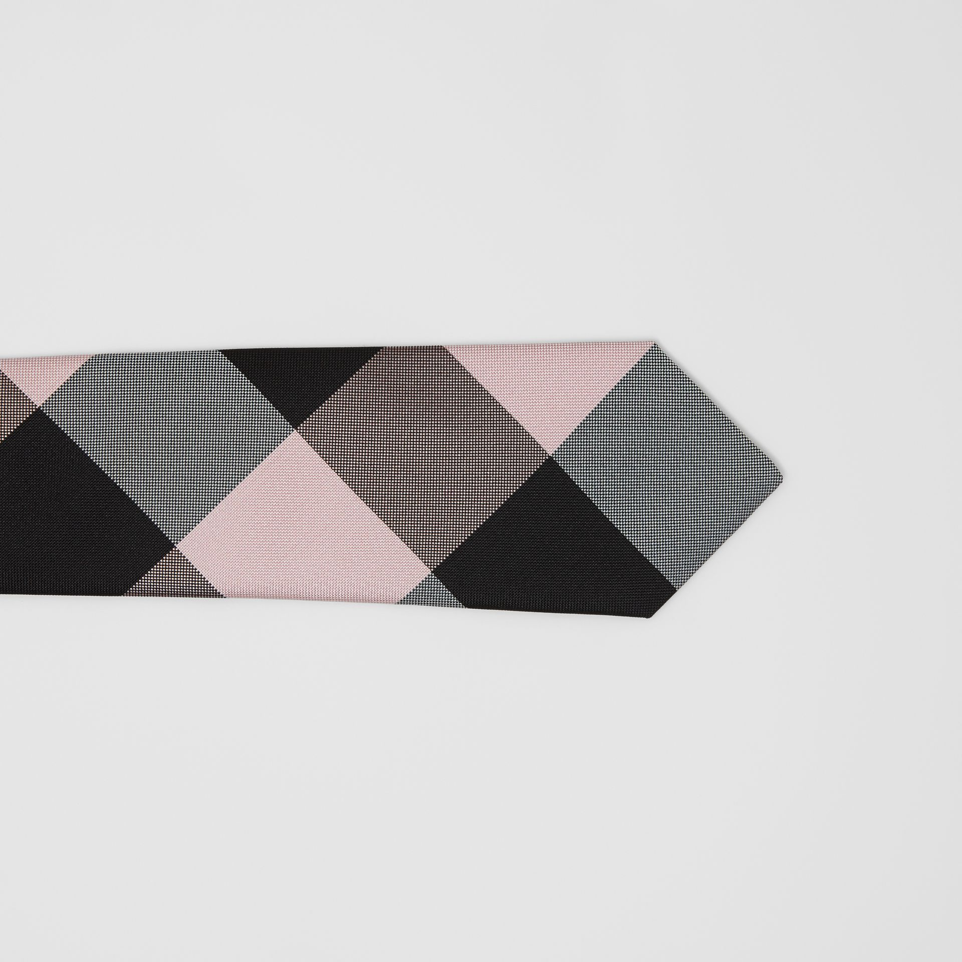 Modern Cut Oversized Check Silk Tie in Alabaster Pink - Men | Burberry - gallery image 1