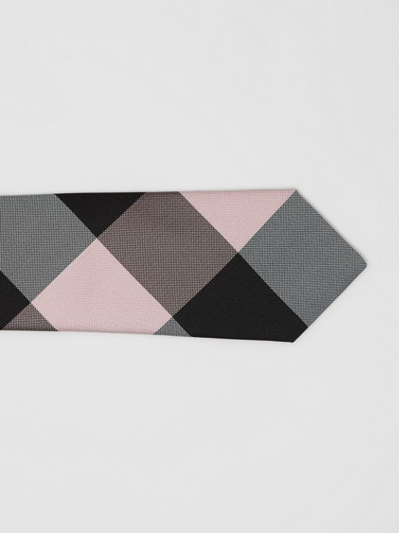 Modern Cut Oversized Check Silk Tie in Alabaster Pink - Men | Burberry - cell image 1