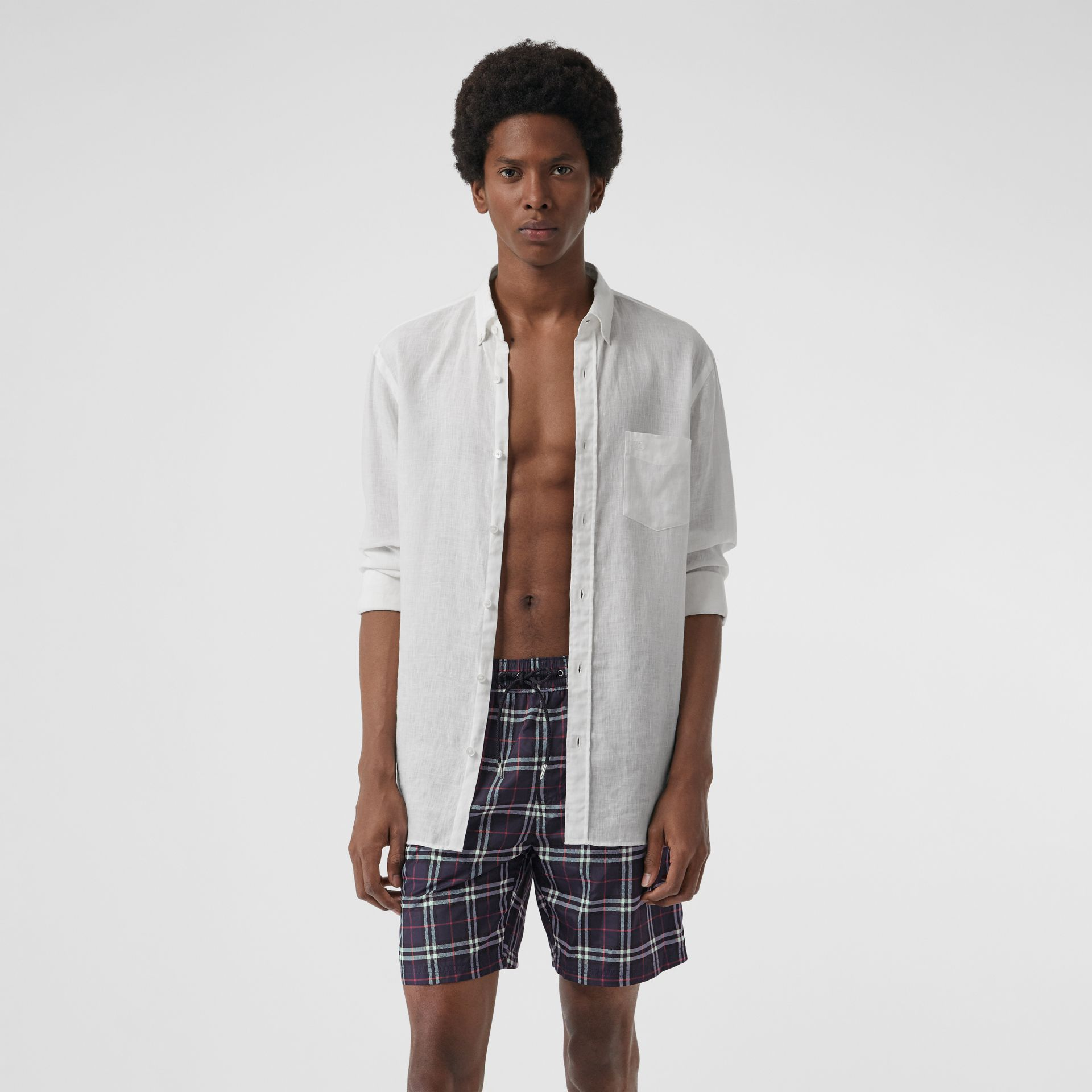 Drawcord Swim Shorts in Navy - Men | Burberry Singapore - gallery image 0