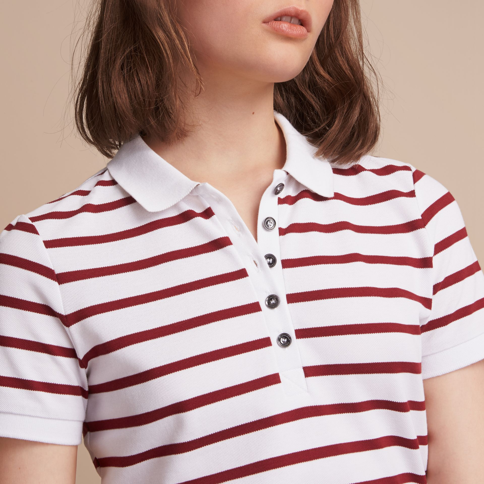 Striped Stretch Cotton Piqué Polo Shirt in White/parade Red - Women | Burberry - gallery image 5