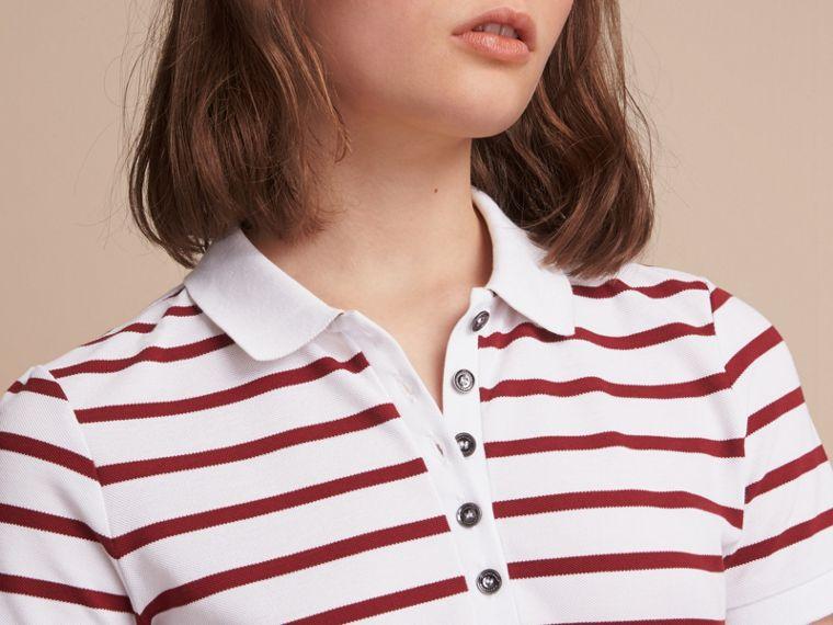 Striped Stretch Cotton Piqué Polo Shirt in White/parade Red - Women | Burberry - cell image 4