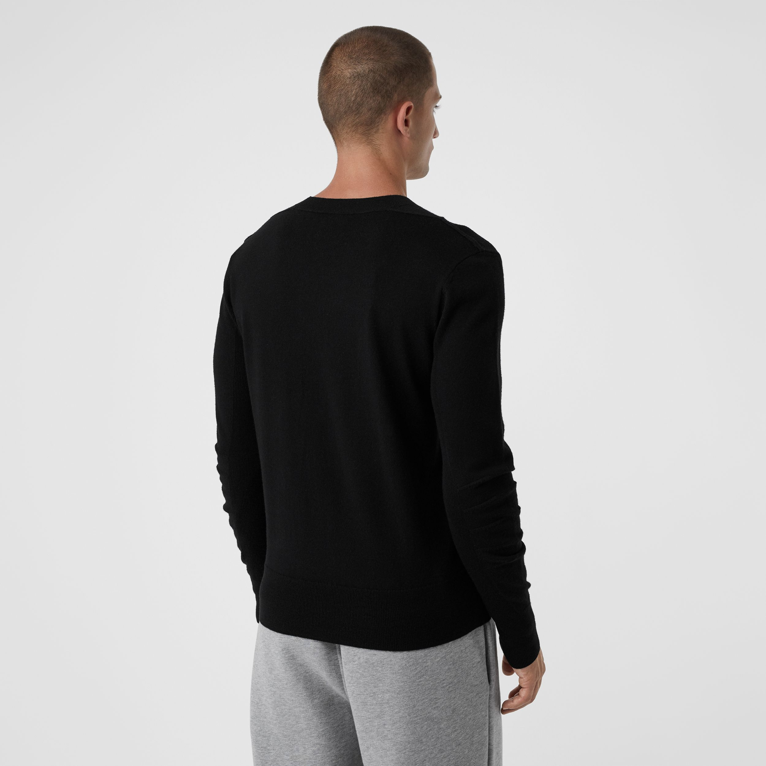 Check Detail Merino Wool Sweater in Black - Men | Burberry - 3